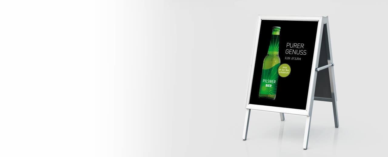 Plakat Druck Werbung mit einem Kundenstopper
