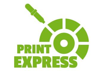 Ein grünes Logo vom Express-Druck