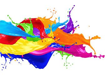 Grafische Darstellung von flüssigen Druckfarben
