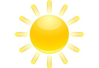 Leuchtstark Die Grafik einer strahlenden Sonne
