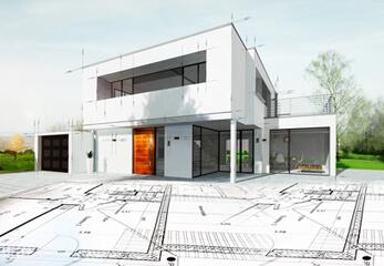 Eine Architekturzeichnung mit 3D-Visualisierung