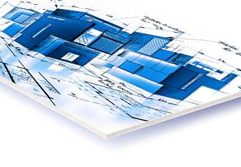 Eine Architekturzeichnung auf Display-Karton