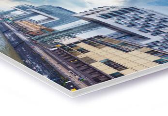 Eine Architekturzeichnung als Direktdruck auf Kapa Plast