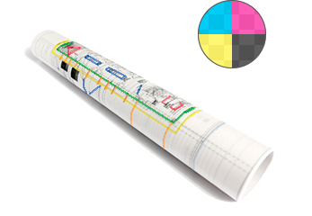 Gerollte Bauzeichnungen auf Transparentpapier