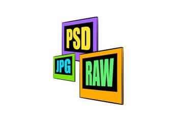 Darstellung von Bildformaten, RAW, JPG, PSD