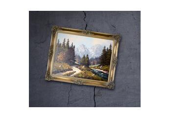 Farbechte Scans Ein Gemälde an der Wand