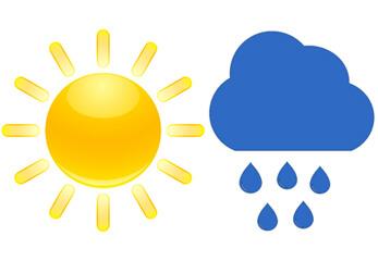 Die grafischen Symbole von Sonne und Regen
