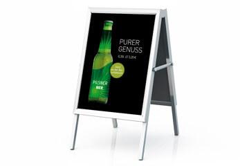 Werbeplakate Ein mobiler Plakatständer wirbt für ein Bier-Mix-Getränk