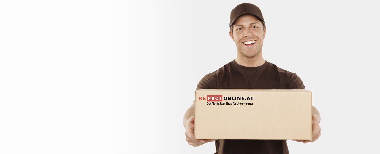 Ein Paket liefert eine Sendung von REPRO ONLINE