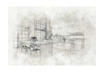 Eine architektonische Bleistiftzeichnung